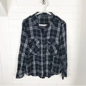 {Sanctuary} Black & White Plaid Button Down Top